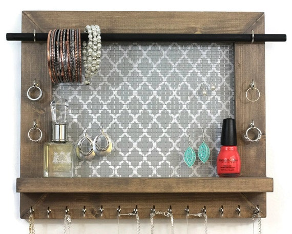 Jewelry Organizer Pick Your Color Quatrefoil Wall Hanging