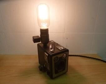 kodak brownie six-20 camera. desk lamp + edison bulb - upcycled vintage retro