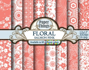 Salmon Pink Flower Digital Paper - Salmon Pink Pattern for Scrapbook Layouts and  Salmon Pink Printable Flowers with Floral Shapes