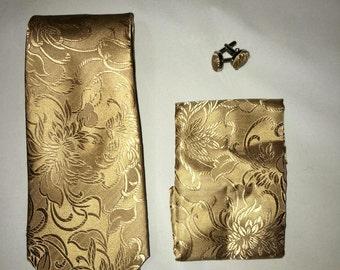Men's tan floral print necktie.