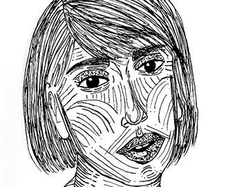 "Line Face 5""x5.5"" Print"