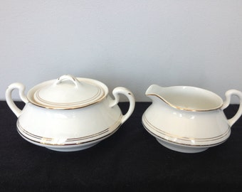 1920s  Homer Laughlin White China Sugar Bowl and Creamer with Gold Trim