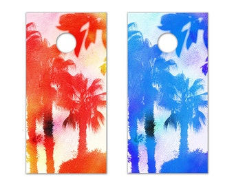 Palm Tree Cornhole Board Decals (Red & Blue)