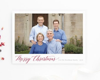 Photo Holiday Card - Modern Calligraphy Merry Christmas Card - Printed Holiday Photo Cards - Merry Christmas Greetings
