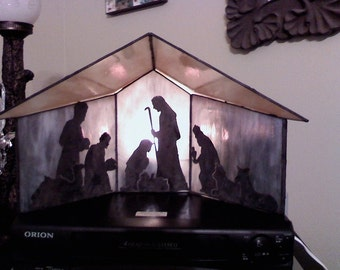 Stained Glass 3-D Manger with Copper Overlay Nativity Scene