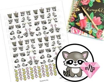 Printable Kawaii Raccoon Planner Stickers for Erin Condren, MAMBI Planner, Filofax