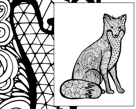 Coloring Pages Animals Pdf : Fox coloring sheet animal pdf zentangle adult