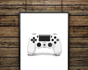 "Illustration Poster Controller ""PS4"" White - Scandinavian Style - Wall decoration - Typographic Design - Black and White Illustration - Gift"
