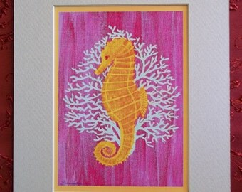 """Matted print, 8""""x 10"""", """"Seahorse"""", handmade from an original painting."""