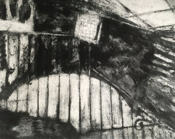 Original Abstract Collagraph print / Industrial