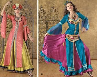 BELLY DANCE Costume Sewing Pattern, For Adults – Simplicity 2159, Bellydance Pattern, Gypsy Costume, Ghawazee Coat, Fringe Belt – Size 6-12