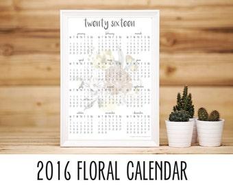 Printable 2016 at-a-glance calendar [floral]