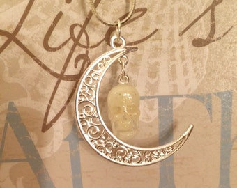 Glow skull with crescent moon charm necklace