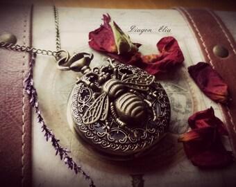 Antique bronze steampunk pocket watch locket necklace with chain.