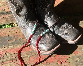 Cowboy Boot Necklace, Rodeo Nevklace, Cowgirl Necklace, Western Jewelry, Beaded Cowboy Boot Necklace