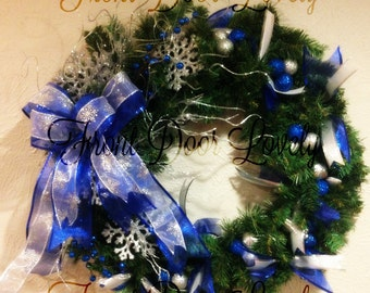 Christmas Blue & Pine Wreath