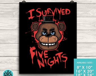 """New I Survived Five Nights At Freddy's Poster Art Print Matte Finish All Sizes 18""""X24"""""""
