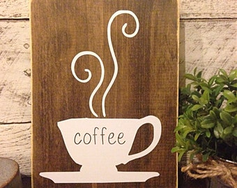 coffee sign | rustic kitchen decor | coffee bar sign | cafe sign