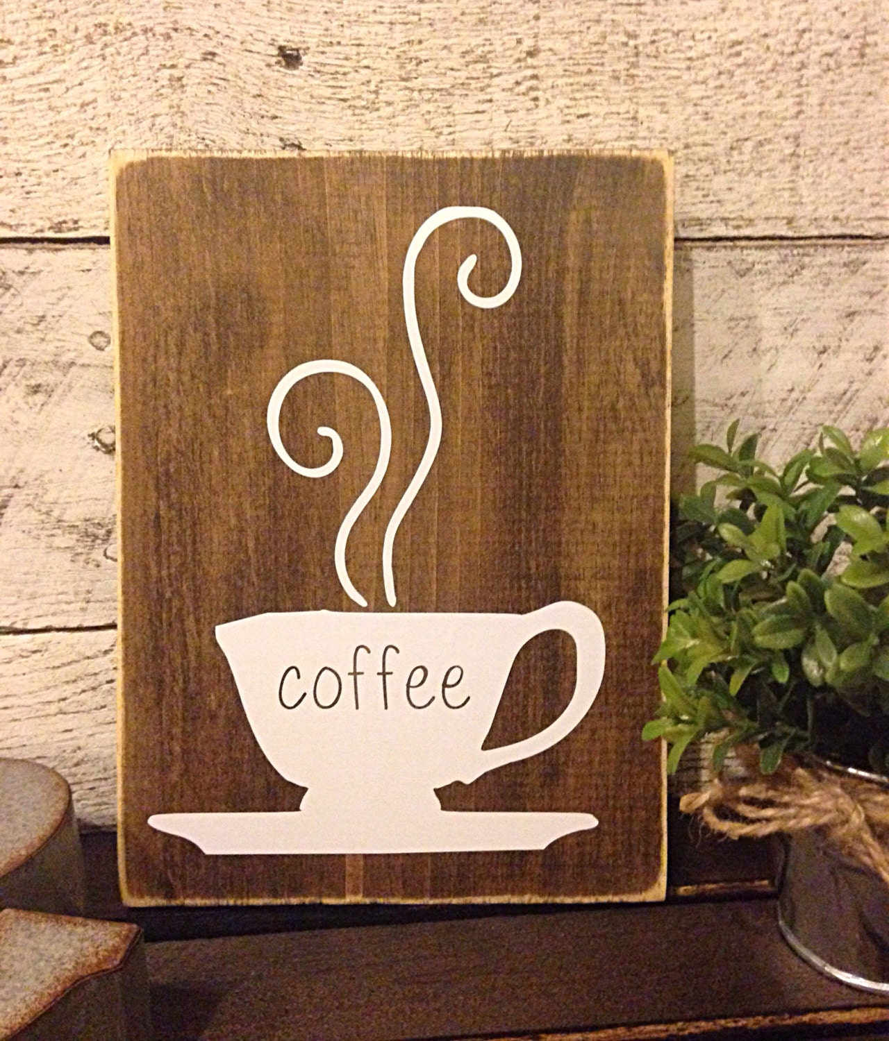 Coffee sign rustic kitchen decor coffee bar sign cafe for Coffee kitchen designs
