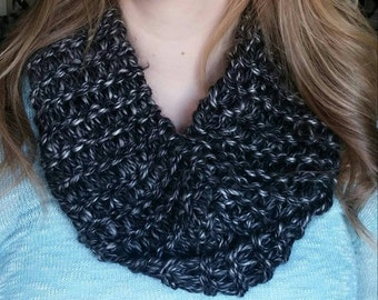 Black Grey and White Infinity Scarf