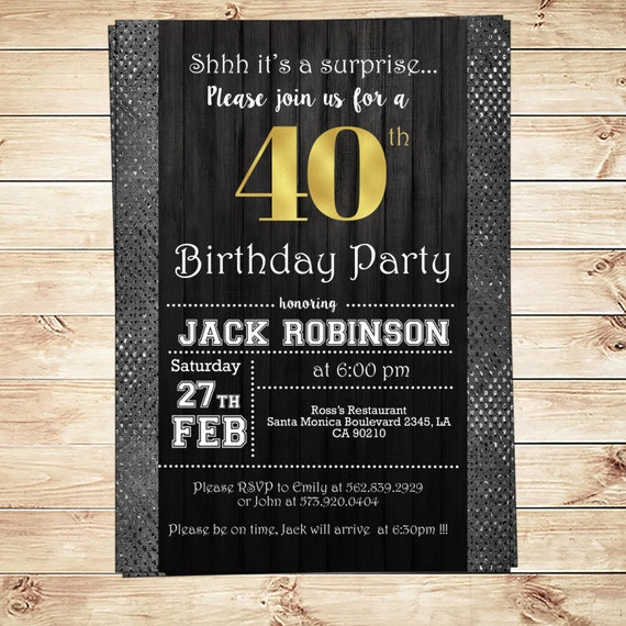 Mens 40th birthday party black silver and gold men 40th for 40th birthday decoration ideas for men