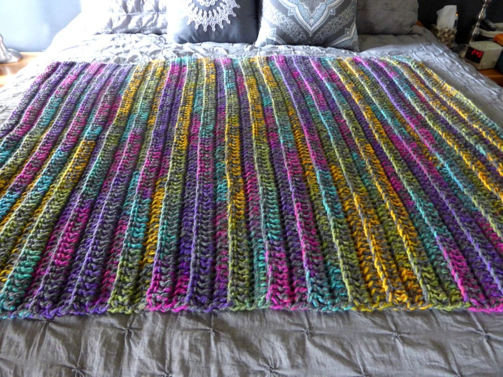 Crochet Knit Chunky Thick Bulky Ribbed Blanket Afghan Throw