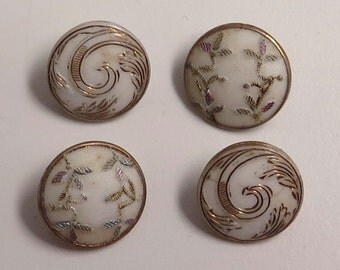 Grp of 4 Small Victorian Glass Buttons, Two Patterns, 1800s