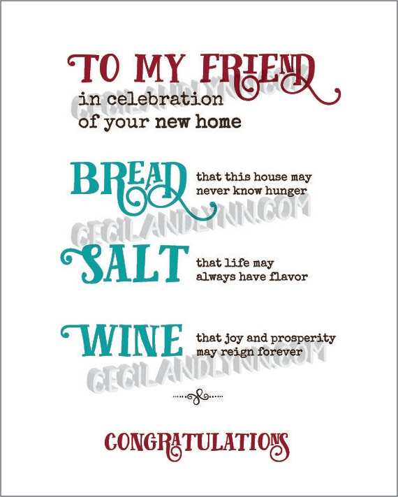 Printable new home blessing bread salt wine poem bread wine - House warming blessing ...