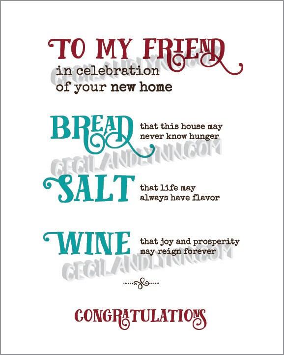 Printable New Home Blessing Bread Salt Wine Poem Bread Wine