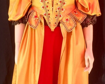 Red Gold Baroque Gown