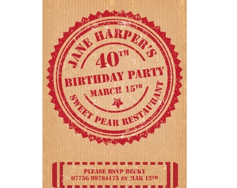 50th or 40th or any Personalized Birthday Party Invitation. 5x7 or 4x6 Cardboard Texture and Red Stamp Design Printable digital DIY