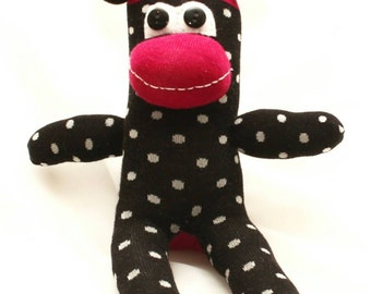 Black and Red Polka Dotted Sock Monkey