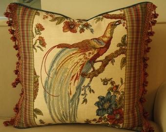 Waverly Olana Pheasant Print Pillow, Pheasant Pillow, Bird Pillow, Nature Pillow, Decorative Pillow