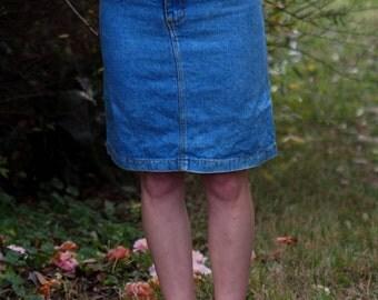 High waisted denim skirt.