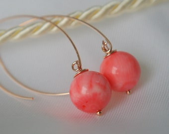 Salmon-red bamboo coral rose gold GF earrings salmon red coral earrings
