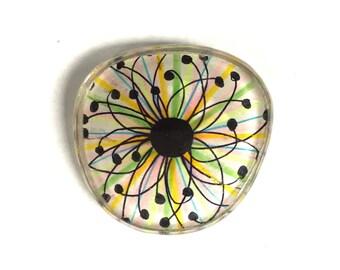 Never Seen Before! One of a Kind Eyeglass Lens Pin/Button/Brooch Featuring Original Artwork