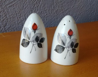 Midwinter Rose Design Salt and Pepper Set // Retro Salt and Pepper Shakers