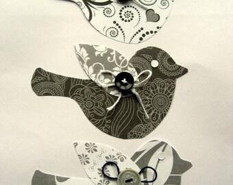 Handmade Paper birds Brocade 3pk
