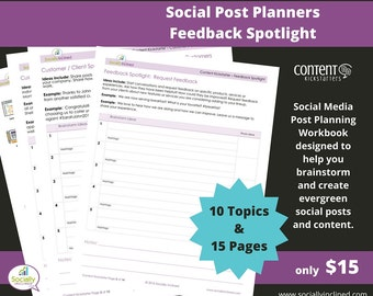 Social Media Planner - Feedback Spotlight Social Post Planner - 15 Pages & 10 Topics to create evergreen social media content.