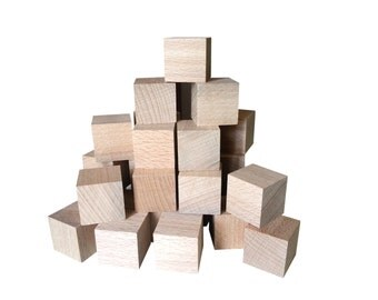 3 x 3 cm - 50 pcs wooden Cubes - unfinished wood - craft DIY