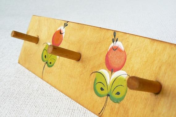 Vintage wooden wall hanger wall hooks for kids room by for Kids room hooks