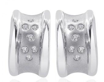 0.20 Carat Diamond Classic Hoop Earrings 14K White Gold