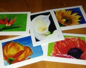 Floral Note Cards, Christmas gift, gift for her, Secret Santa, sunflower, poppy, lily, stationary, wedding thank you cards