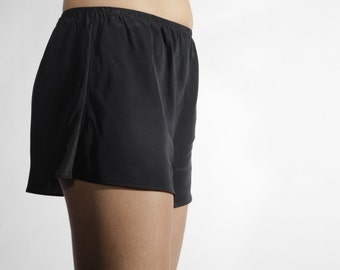 Silk Charmeuse Tap Shorts in Black
