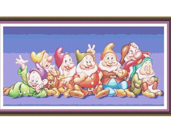 SALE half price cross stitch pattern Disney Gnomes,Instant download PDF Pattern