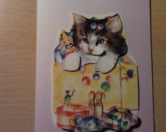 3D map cat birthday