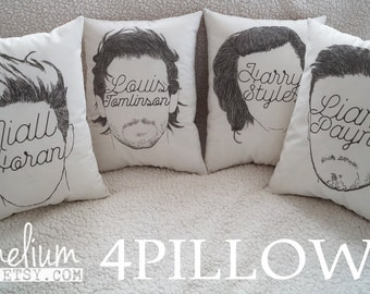 SET - ALL MEMBERS - One Direction - 1D  hand made decrorative pillow Niall, Harry, Louis, Liam