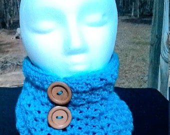 turquoise cowl- hooded cowl-crochet snood