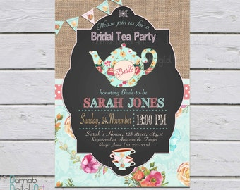 Tea Party Bridal Shower Invitation, Bridal Shower Invitation, Tea Party Shower, tea party bridal shower invites, Bridal shower invite
