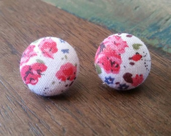 Handmade fabric floral button earrings 19mm